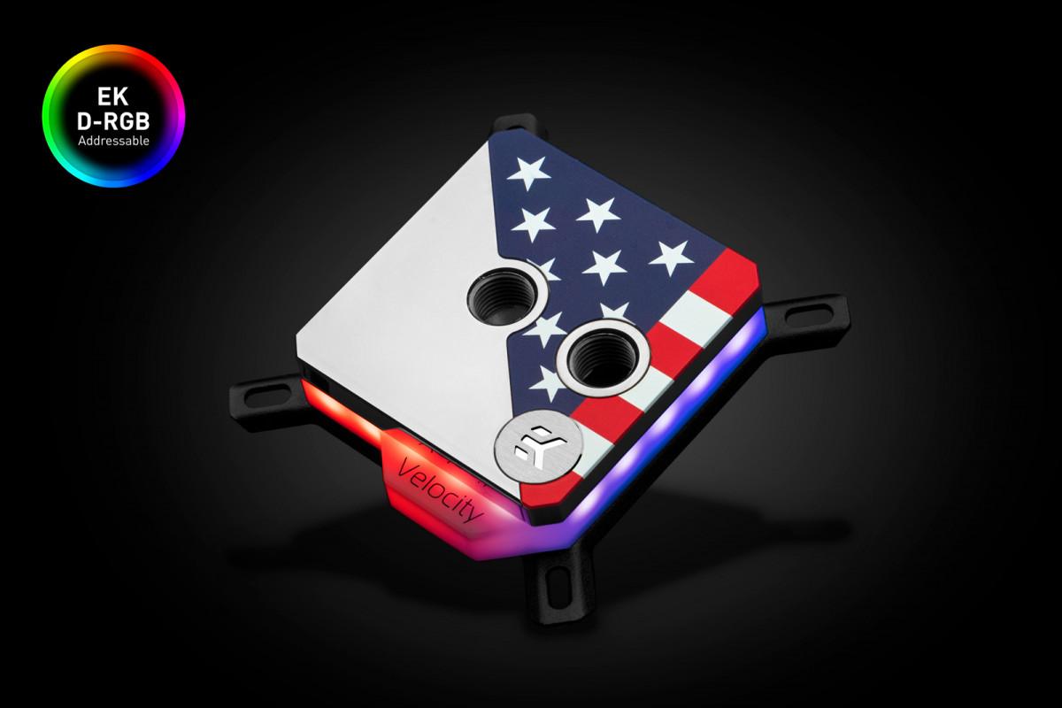 EK-Quantum Velocity Honor D-RGB - Black Nickel + Stars & Stripes