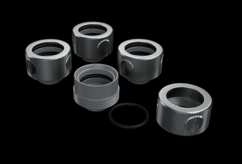 EK-HDC ALU Fitting 16mm-Nickel-4 Pack