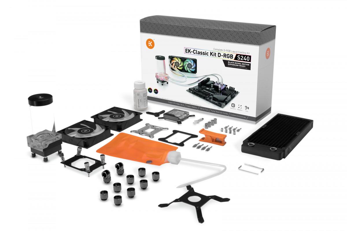 EK-Classic Kit S240 D-RGB - Black Nickel Edition